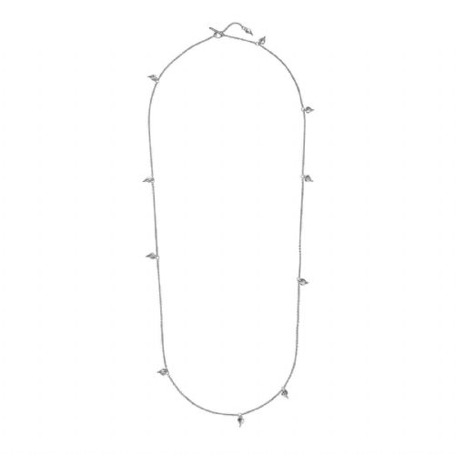 "Leaf Heart Long Necklace Solid Sterling Silver 32"" Length Hallmark Luxury Box"